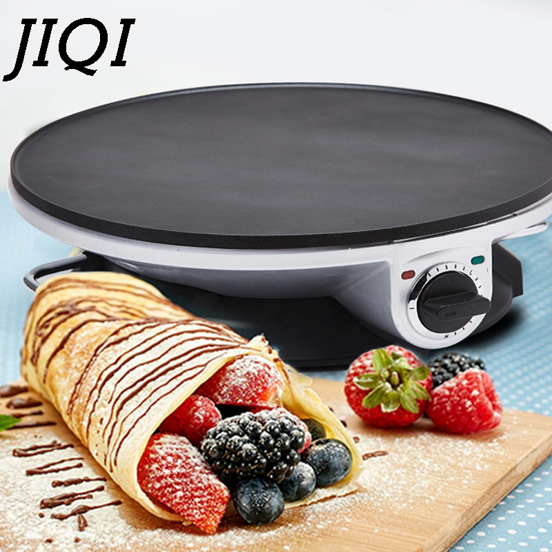 JIQI Electric Crepe Maker Pancake Baing Pan Chinese Spring Roll Pie Grill Machine BBQ Oven Barbecue Roasting Griddle EU US Plug
