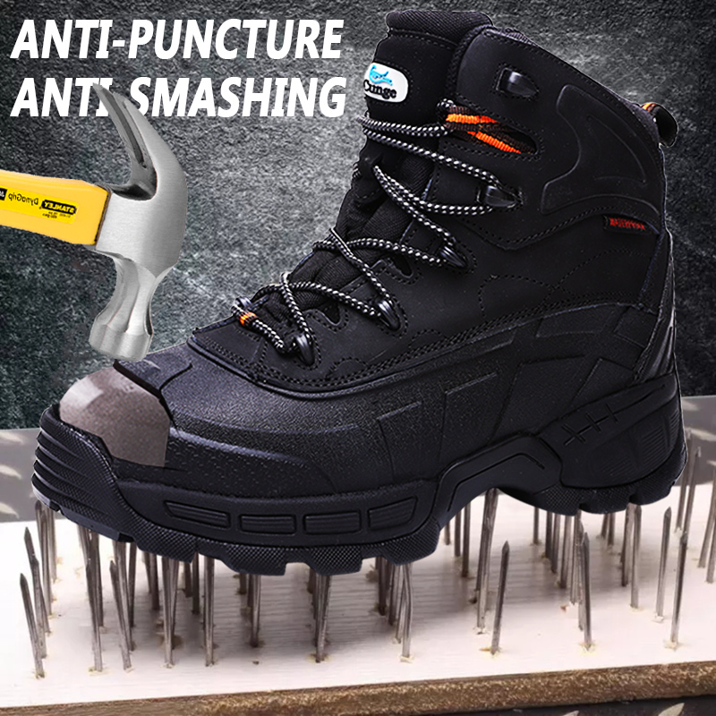 Cungel Plus size Men Steel toe Safety boots High quality leather Work boots Outdoor Trekking Hiking shoes Military combat boots