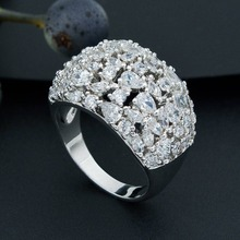 Newness Super Sparkling Silver Color Full Cubic Zirconia Copper Wedding Engagement Rings Jewelry For Women