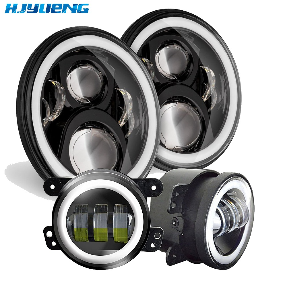 for Jeep Wrangler 7inch Daymaker LED Headlights with White DRL/Amber Turn Signal + 4inch LED Fog Lights with White DRL Halo Ring
