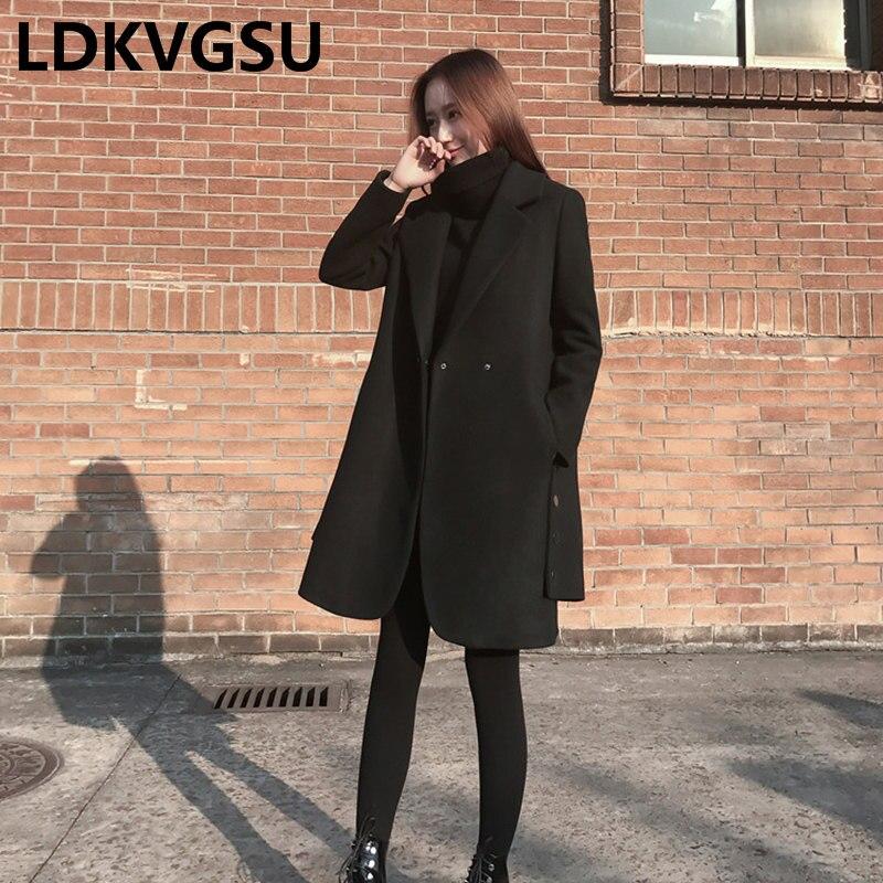 Nouvelle Grande Noir Veste Is1090 Automne Hiver Taille 2018 Manteau En Laine Femmes Black Lâche Coréenne De Épais xwfnzqABYP