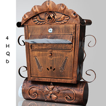 Luxury Handcraft Mailbox Rainproof Rural Home Retro Postbox With Lock Outside Decor Letter Box Rotating Newspaper Fashion New