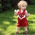 Мода Ребенка Комбинезон Мальчики Девочки Летом Мультфильм Фокс Стиль 0-2 Т Красный Хлопок Дети Одежда Для Новорожденных Девочка Мальчик комбинезон Детская Одежда