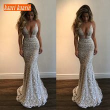8d7068e8a5f0 Luxury Gray Lace Mermaid Long Formal Dress Evening 2019 Evening Gown Women  V-Neck Sleeveless Banquet reflective Party Dresses