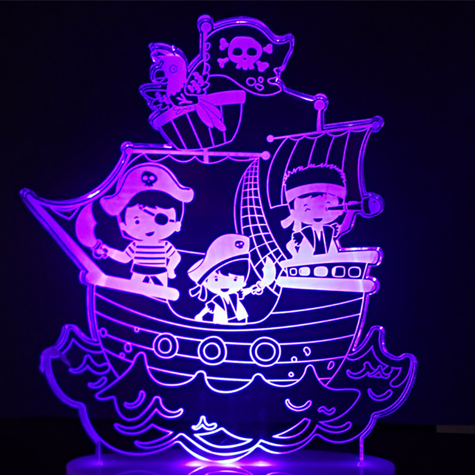 7 Colors Changing Pirate Ship Modelling Led Nightlight 3D Visual Table Lamp Kids Bedroom Sleep Cartoon Light Fixture Decor Gifts 3d fire engine modelling table lamp 7 colors changing fire truck car night light usb sleep light fixture bedroom decor kids gift