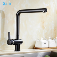 All Solid Brass Black Bronze Kitchen Faucet Tap 360 Degree Swivel Hot and Cold Kitchen Water Faucet Antique Black Kitchen Mixer