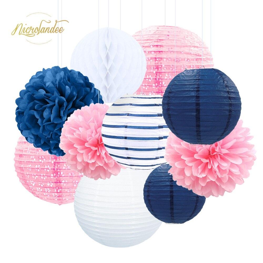 NICROLANDEE 10 pièces/ensemble fête d'anniversaire de mariage bébé douche papier bricolage décor papier lanterne nid d'abeille fleur boule pompon
