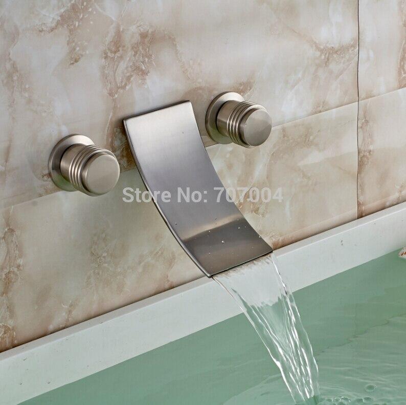 Wall Mounted Dual Handles Waterfall Bathroom Basin Faucet Brushed Nickel Basin Mixer Taps