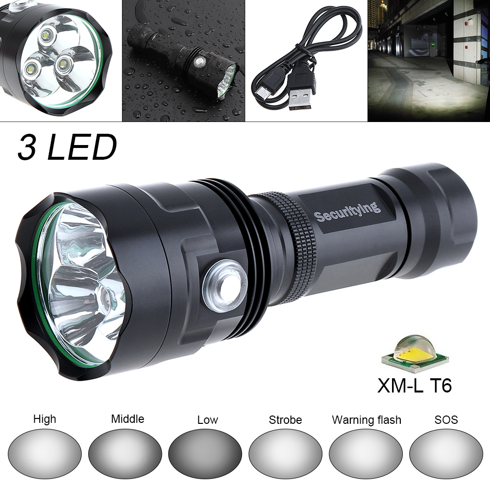 SecurityIng Waterproof Outdoor 3x XM-L T6 LED Flashlight Torch Lamp Super Bright 2400LM 6 Mode Flash Light Support USB Charging