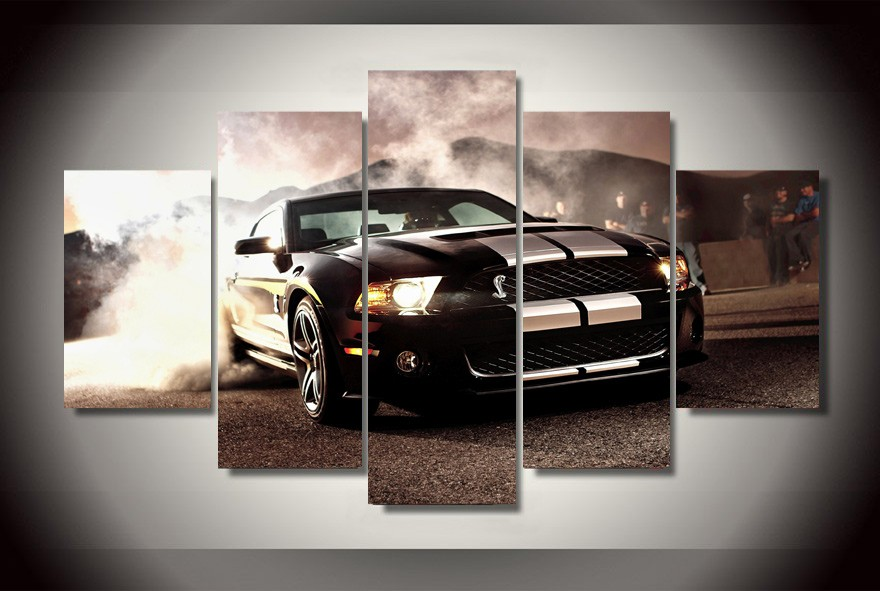5 Pieces Ford Mustang Cobra GT500KR Cars Modern Home Wall Decor Canvas Picture Art HD Print Painting On Canvas For Living Room
