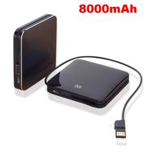 LCD Mirror Screen 8000mAh Mini Portable Power Bank Built-in Line Dual USB Charger 2.1A Fast Charging Powerbank For iPhone Xiaomi