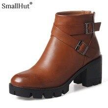 High Sqaure Heel Platform Ankle Boots Autumn Women Fashion Square Heels Shoes D083 Ladies Cross Buckle Black Brown Zipper Boots