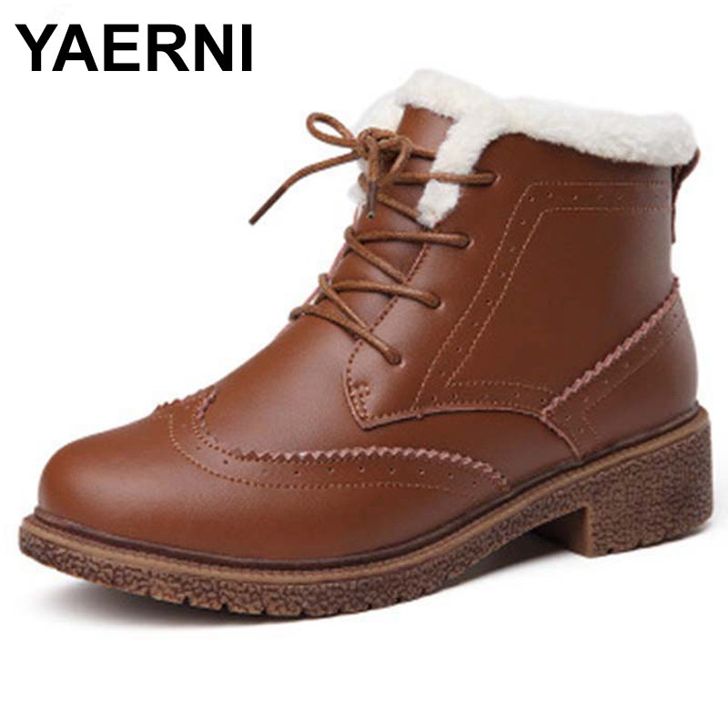 YAERNI 2018 Women Boots Waterproof Winter Warm Fur Ankle Boots Thick Soled Warm Cotton Shoes Woman Botas Footwear E523 women snow boots winter warm fur ankle boots couple thick soled cotton shoes woman flats waterproof slip on botas mujer zapatos