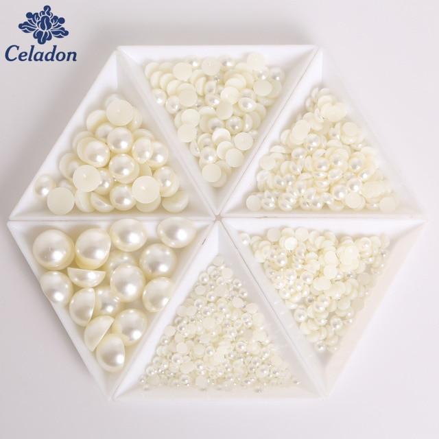 50-1000pcs 12 Size Half Round Acrylic Imitation Flatback Pearl Beads for Nail Art DIY Craft Scrapbook Decoration
