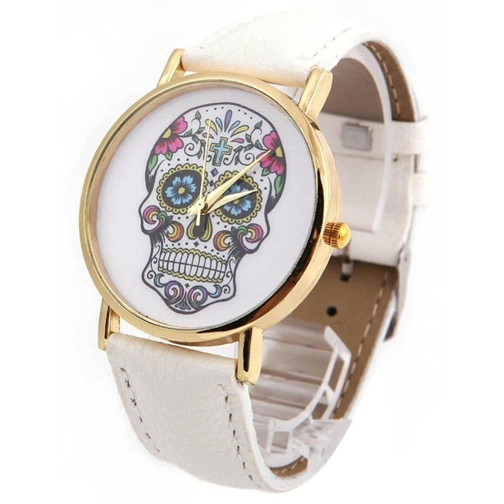 Top Skull Women Watch Mexican Catrina Flowers Cross Pu Leather Wristwatch Girl Vintage Fashion Casual Geneva Style Reloj