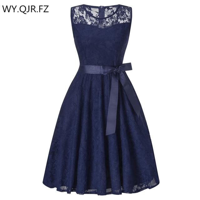Oml503lround Collar Dark Blue Bow Short Bridesmaid Dresses Wedding