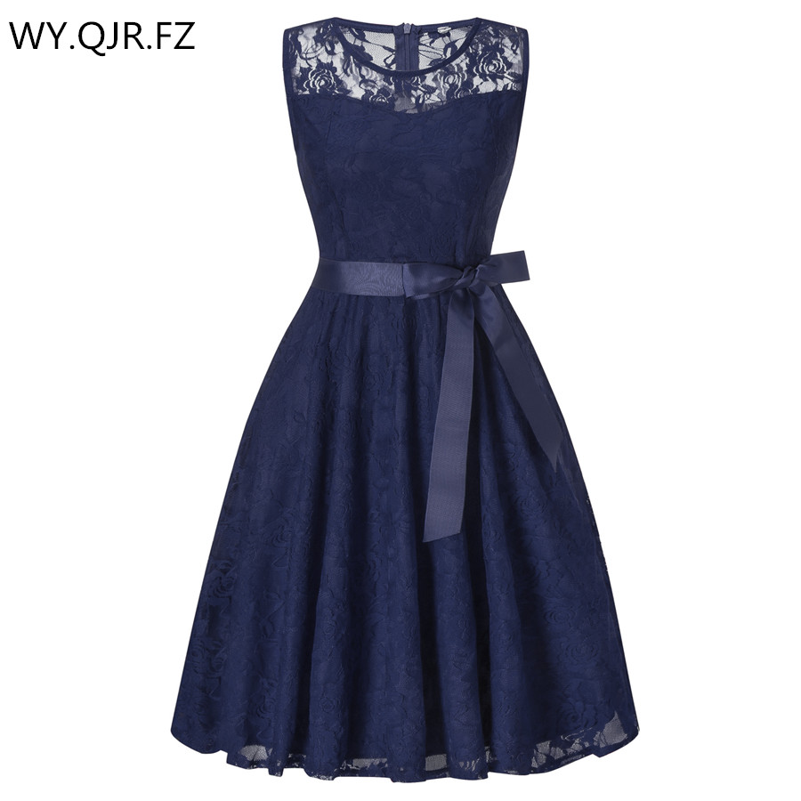 OML503L#round Collar Dark Blue Bow Short Bridesmaid Dresses Wedding Party Dress Girls 2019 Prom Gown Ladies Fashion Wholesale