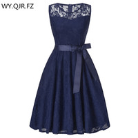 OML503L#round collar dark blue Bow Short Bridesmaid Dresses wedding party dress 2018 prom gown Ladies women's fashion wholesale