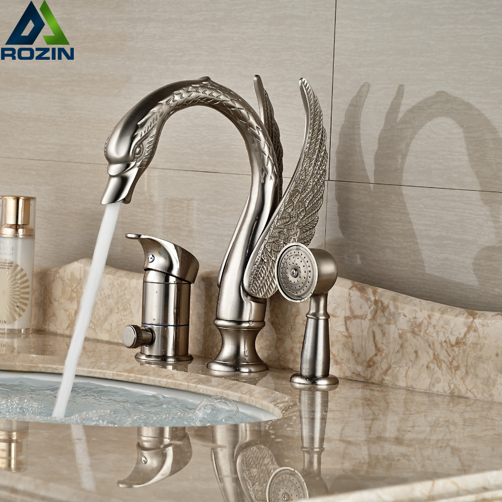 Deck Mount Nickel Brushed Swan Bathtub Faucet 3PCS Bathroom Tub Mixer Tap Single Handle with Handshower