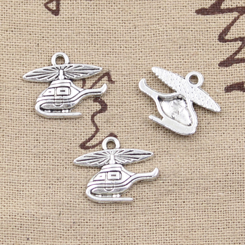 15pcs Charms Helicopter Airplane 15x19mm Tibetan Pendants Fashion Jewelry Making Findings DIY Handmade Charms Jewelry image