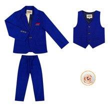 Летний вечерний блейзер с цветочным принтом для мальчиков; комплект одежды; детская куртка; жилет; брюки; 3 предмета; костюм-смокинг для свадьбы; Детский костюм для дня рождения