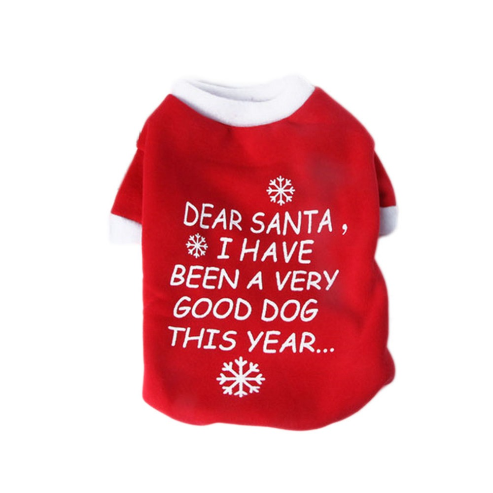 Pet Dog Cat Xmas T Shirt Warm Pets Costume Cotton Coat