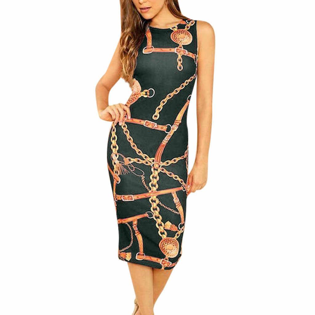 JAYCOSIN 2019 новое летнее женское привлекательное облегающее платье с цепочкой, без рукавов, облегающее Клубное платье для вечеринки, облегающее вечернее платье 9032213