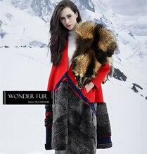 Christmas Gift For Girlfriend Rex Rabbit Fur Garment Red Woolen Fur Jacket Ladies Long Overcoat With Real Rex Rabbit Fur