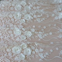 One Yard 125cm Wide Purple Petal Wedding 3D Lace Fabric With Beads Patchwork Accessories DIY Handmade