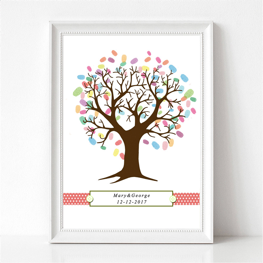 Personalized Thumbprint Tree Wedding Guest Book Alternative: Bicycle Bike Festive Party Personalized Fingerprint