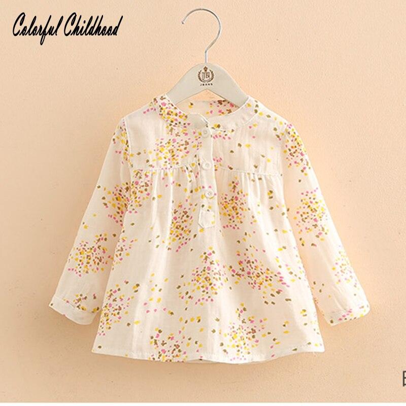Рубашка с принтом для малышей Новая весенне-Осенняя детская одежда для девочек Рубашка с длинными рукавами для больших детей от 3 до 12 лет