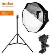 Восьмиугольный зонт софтбокс Godox, 95 см, 37,5 дюйма, оссветильник ительная стойка Type B, держатель горячего башмака, комплект кронштейнов для вспышки Canon, Nikon, Godox