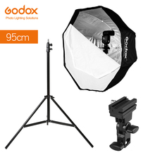 Godox 95cm 37.5'' Octagon Umbrella Softbox Light Stand Type-B Hot Shoe Holder Bracket Kit for Canon Nikon Godox Speedlite Flash