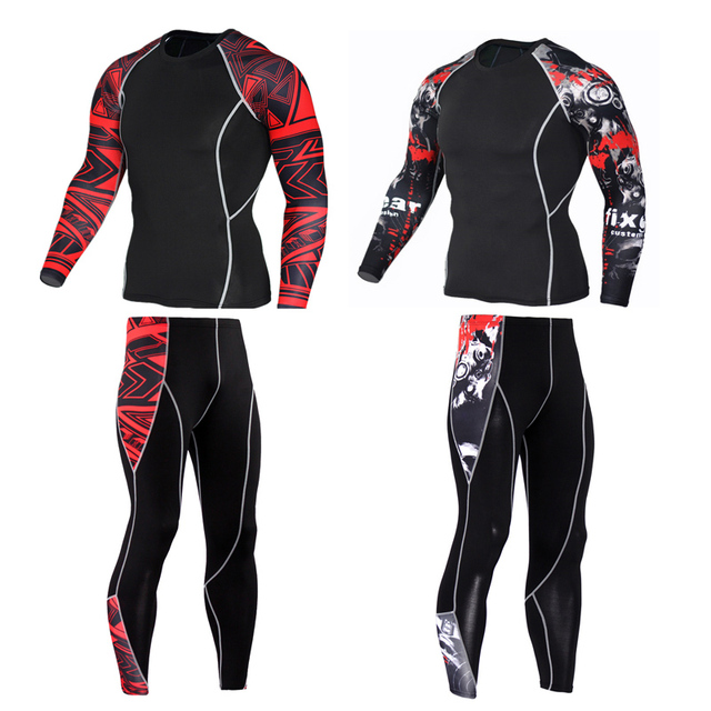 2018 new tracksuit union suit thermal underwear Men s crossfit fitness MMA  rash guard men compression clothing Brand leggings 8602e1b81078