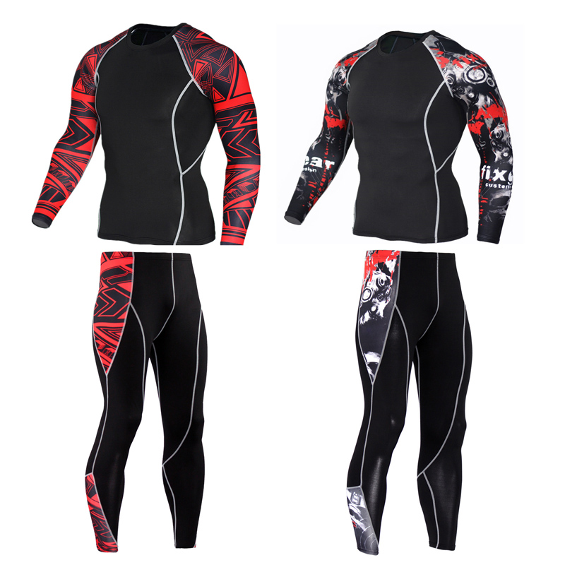 2019 New Tracksuit Union Suit Thermal Underwear   Men's Crossfit Fitness MMA Rash Guard Men Compression Clothing Brand Leggings