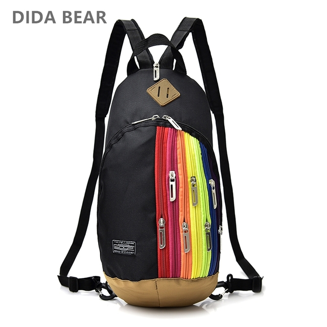 153c8d61b8 DIDABEAR 2018 Waterproof Nylon Backpacks Small Backpack for Girls and Women  Chest pack Rainbow Bags Travel Bag Rucksack Black