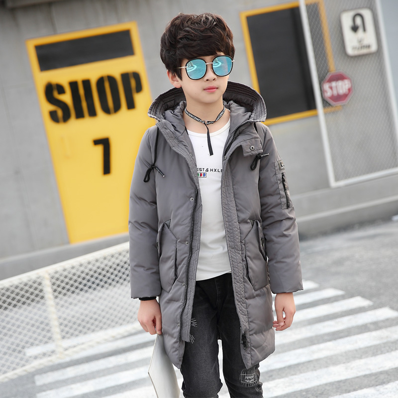 Down Coat Boy Winter Clothing with Hooded Thicken Warmly Parkas age 10 12 14 16 year allrun 10 12 14 16