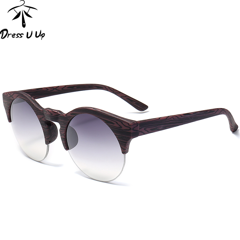 DRESSUUP Női kerek napszemüveg márkatervező Vintage félig perem - Ruházati kiegészítők - Fénykép 3