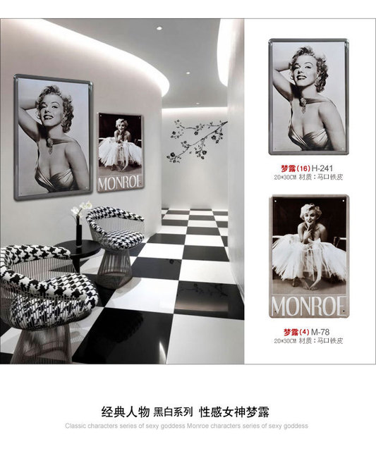 free shipping, Metal painting vintage black and white painting tieyi monroe wall decoration photos of wall decoration
