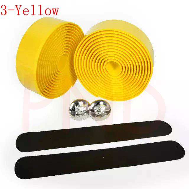 Лента на руль для шоссейного велосипеда камуфляжная велосипедная ручка на ремне пробковая обмотка с заглушками 17 цветов FZE001 - Цвет: 3 Yellow