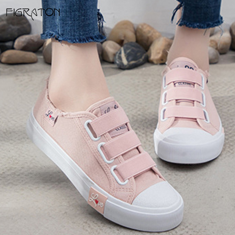 купить Figraton Women's Sneakers Casual Spring Autumn Fashion Flats Shoes Canvas Hook Loop Fringe Solid Color Breathable Round Toe онлайн