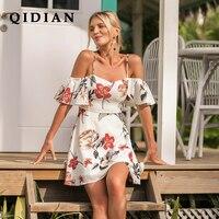 QI DIAN Summer Dress 2018 Dress Women Sexy Printed Holiday Dress Temperament Commuter Women Vestidos De