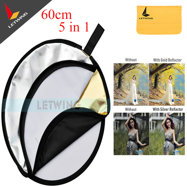 "60cm 24"" 5in1 Collapsible Portable Light Diffuser Round Reflector DISC Multi Color Studio Photography Reflector"