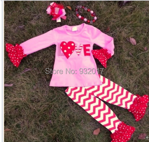 baby girls top pant sets heart top and pant outfits valentines boutique outfits with matching hair bows and chunky necklace set in clothing sets from mother - Girls Valentine Outfits