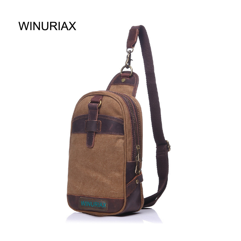 WINURIAX MEN Chest bag Canvas Casual realer shoulder bag waterproof Functional male Chest Bags military handbags design