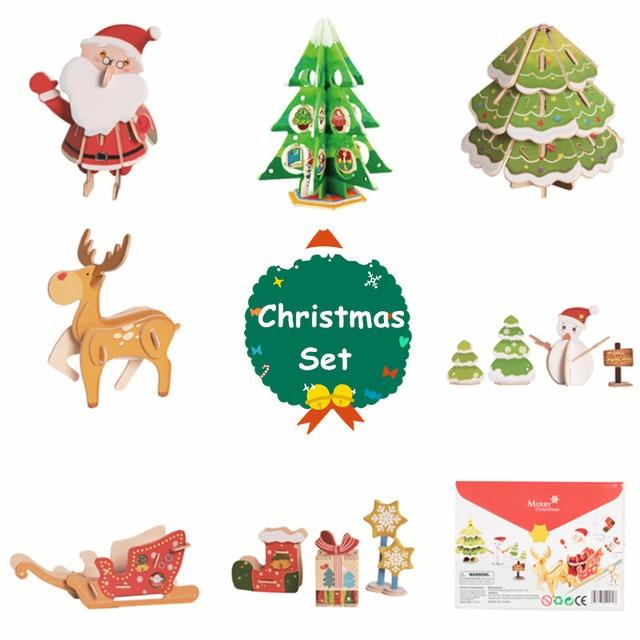 Us 478 40 Offrobotime Home Decor Diy Wooden Christmas Tree Pine Santa Reindeer Sleigh New Year Ornament Decoration Noel Xmas Gift Children Ch In