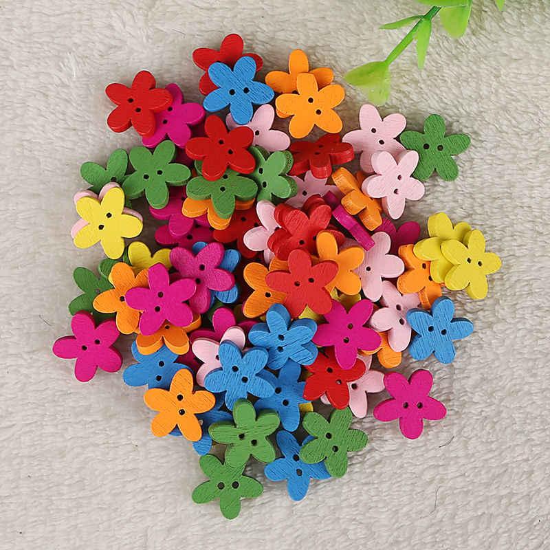100 pz Colorful Flower Flatback Legno Tasti di Cucito Scrapbooking Del Mestiere