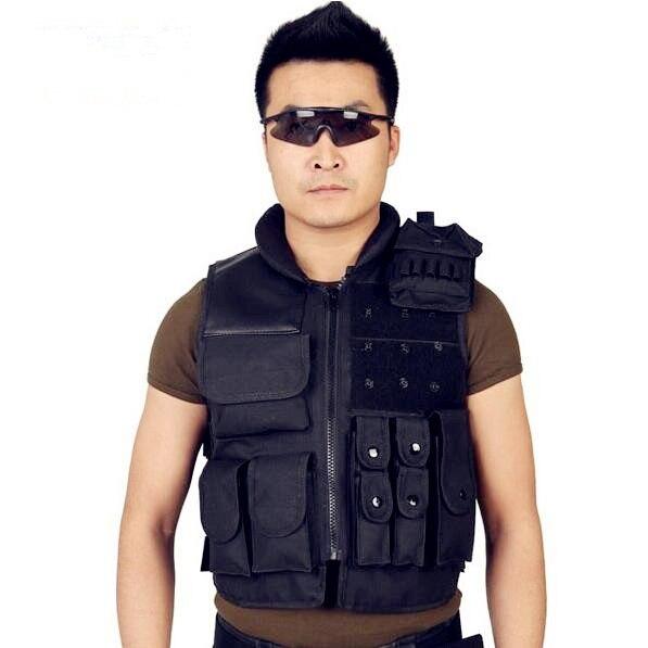 outdoor plus long security protection black riding vest tactical vest vest CS field fishing vest