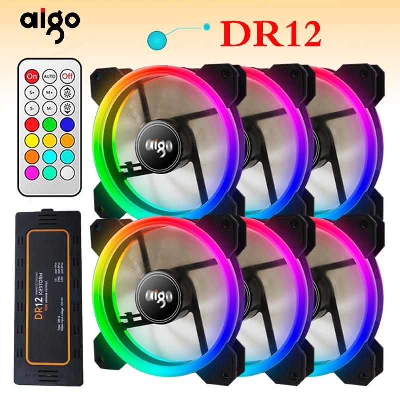 Aigo DR12 3 piezas de la computadora de la PC de la caja de refrigeración ventilador RGB ajustar LED 120mm Quiet + control remoto IR nueva computadora enfriador de refrigeración RGB caso ventilador CPU