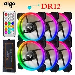 Aigo DR12 3 uds CAJA DE ORDENADOR ventilador de refrigeración RGB ajuste LED 120mm silencioso + IR remoto nuevo refrigerador de ordenador refrigeración RGB caso ventilador CPU
